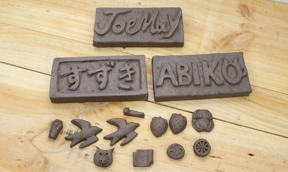 瓦粘土の表札&粘土小物作り体験の体験写真